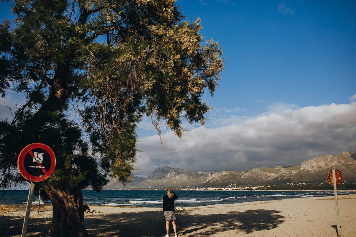 View of the beach in Son Serra de Marina seen from the Bar Sol.