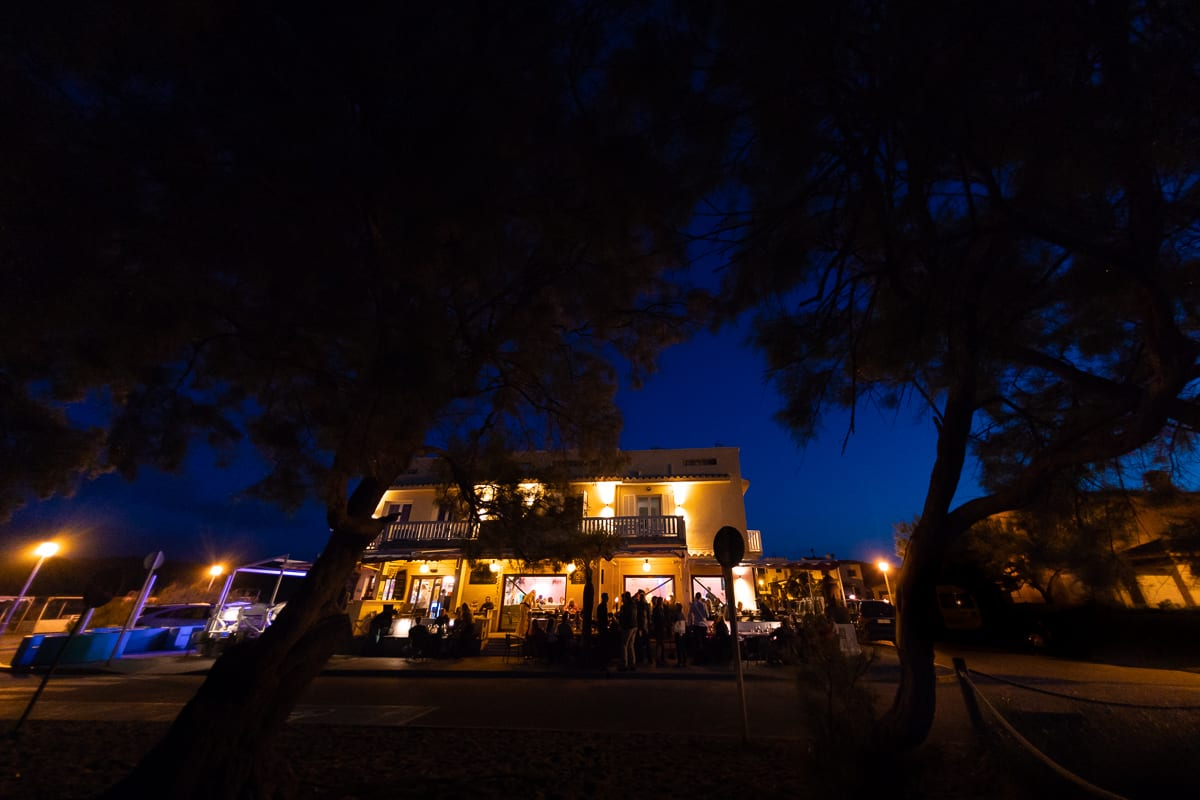 View of the Sol bar in Son Serra de Marina at the blue hour.