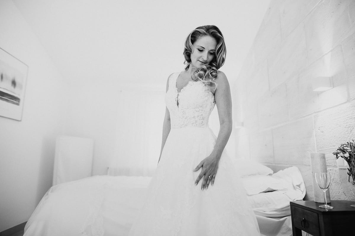 Portrait of the bride just before going.