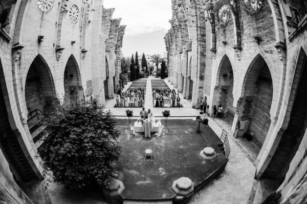 Black and white Wide-angle view from above of the roofless church Iglesia Nova.