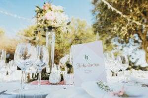 Close-up of the wedding table decoration.