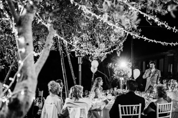 The groom during his table speech to his sweetheart.
