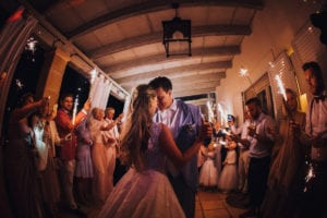 The cuddly newlyweds during the first dance on the wedding finca Tortuga on Majorca.