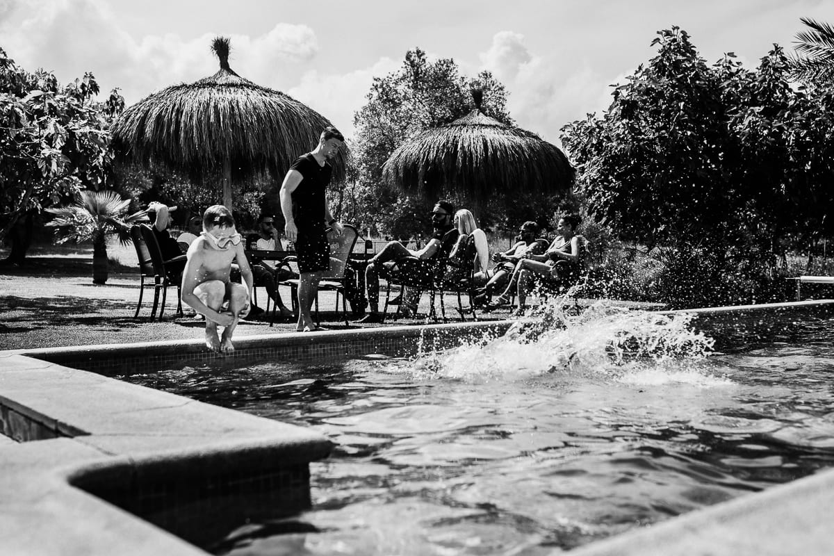 The little ones enjoy the pool during the brunch the day after the wedding.