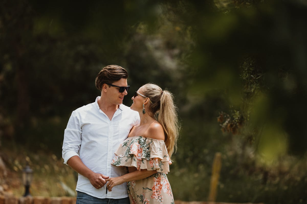 Portrait of the bride and groom in an holiday summer look.