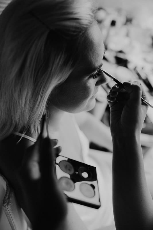 Black and white Make up photo of profile of the bride.