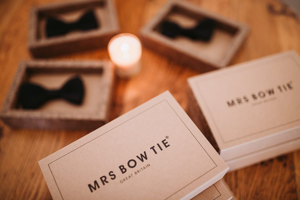 Close up of the grooms bow ties.