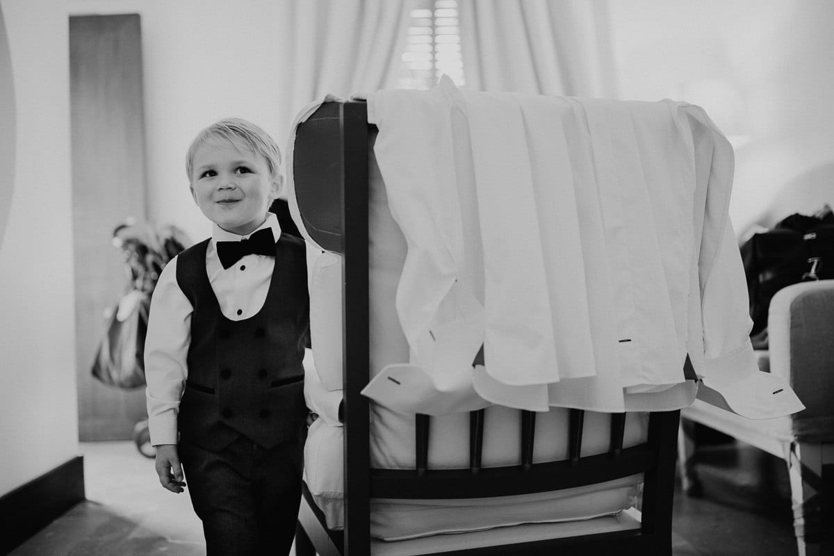 Portrait of the smiling 4 years old nephew of the bride.