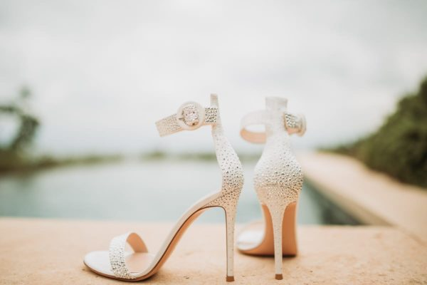 Close up of the bridal shoes.