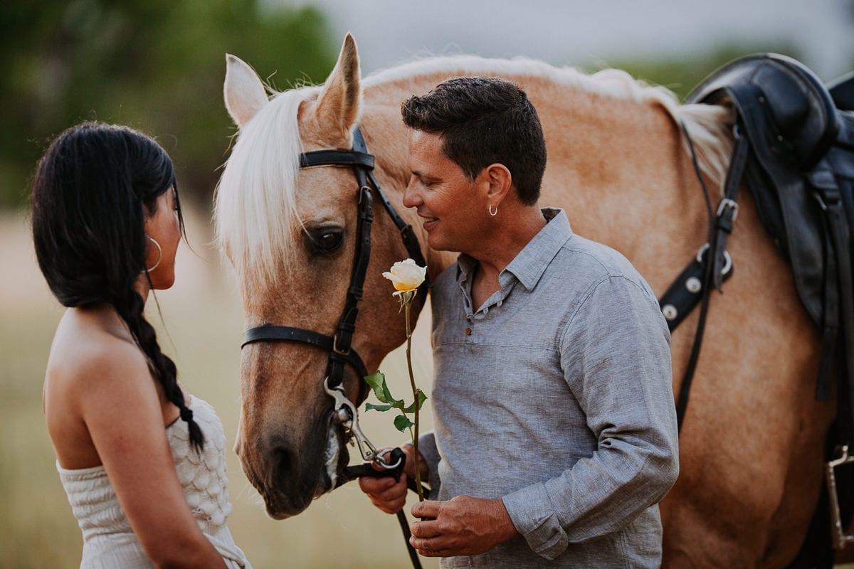 A Lovestory Photo Shoot With A Beautiful Blond Horse In Majorca White Majorca Wedding Photography