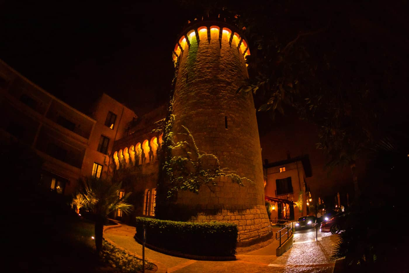 Hotel Castillo Son Vida by night.